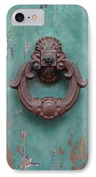 IPhone Case featuring the photograph Avignon Door Knocker On Green by Ramona Johnston