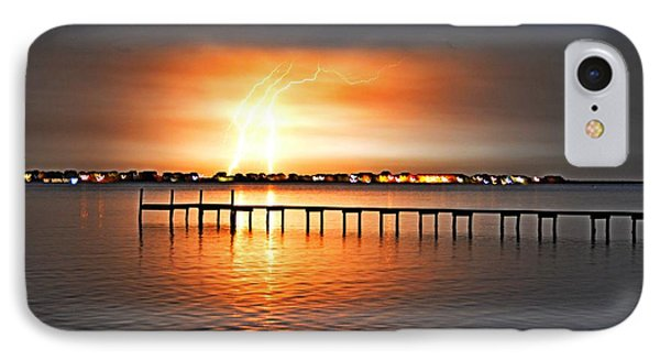 IPhone Case featuring the photograph Awesome Lightning Electrical Storm On Sound by Jeff at JSJ Photography