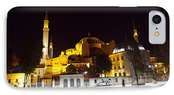 Aya Sophia In Istanbul Turkey At Night Phone Case by Raimond Klavins