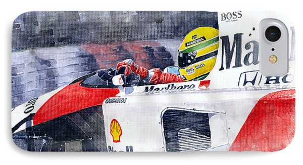 Ayrton Senna Mclaren 1991 Hungarian Gp IPhone Case by Yuriy Shevchuk