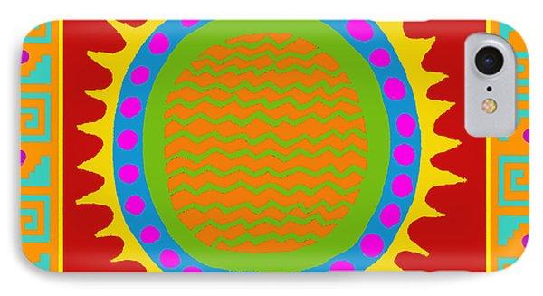 IPhone Case featuring the digital art Aztec Del Sol by Vagabond Folk Art - Virginia Vivier
