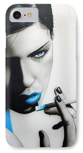 Portrait - ' Azure Addiction ' IPhone Case by Christian Chapman Art