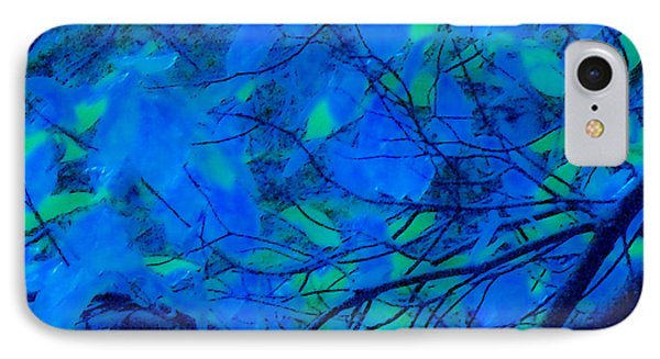 IPhone Case featuring the digital art Azure Leaves by Kristen R Kennedy