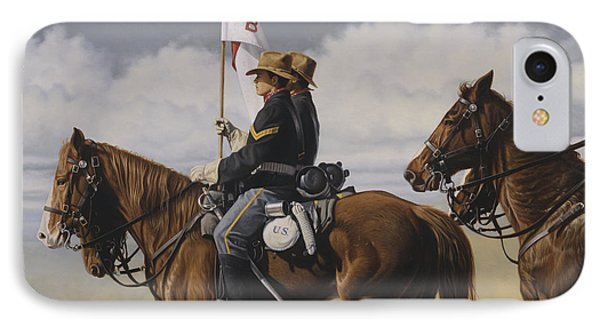 IPhone Case featuring the painting B Troop by Ron Crabb