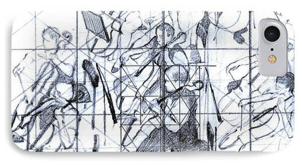 B01. Producing A Large Composition On Canvas - Initial Layout IPhone Case