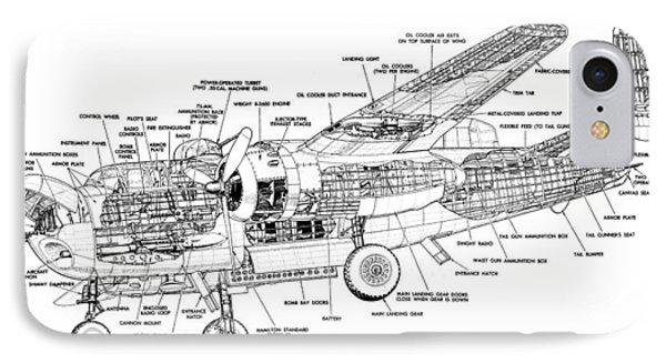 B25 Mitchell Schematic Diagram IPhone Case