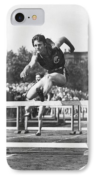 Babe Didrikson High Hurdles IPhone Case by Underwood Archives