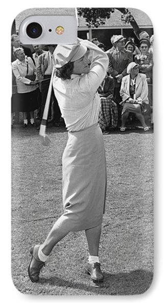 Babe Didrikson Teeing Off IPhone Case by Julian Graham