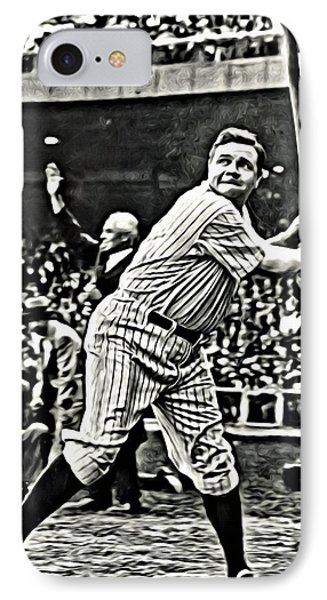 Babe Ruth Painting Phone Case by Florian Rodarte