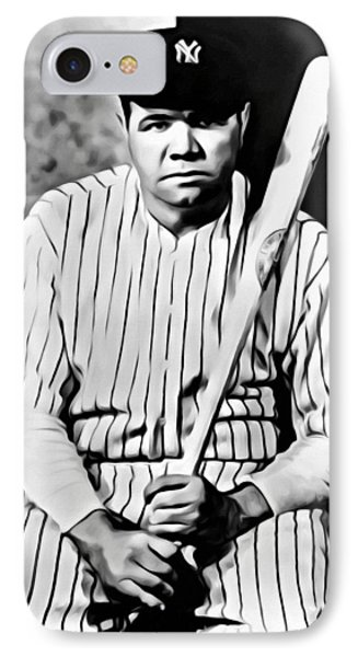 Babe Ruth Portrait Painting IPhone Case by Florian Rodarte