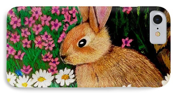 Baby Bunny In The Garden At Night IPhone Case by Renee Michelle Wenker