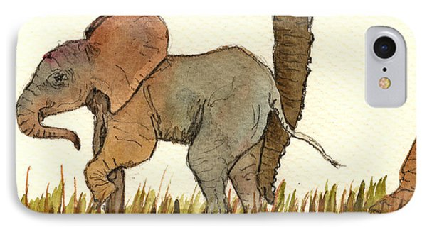 Baby Elephant IPhone Case by Juan  Bosco