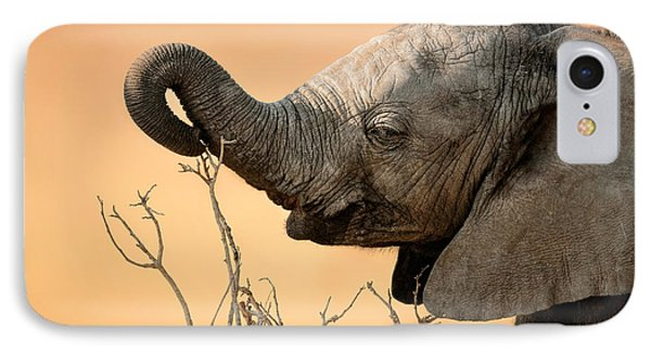 Baby Elephant Reaching For Branch IPhone Case by Johan Swanepoel