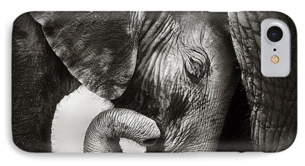 Cow iPhone 7 Case - Baby Elephant Seeking Comfort by Johan Swanepoel