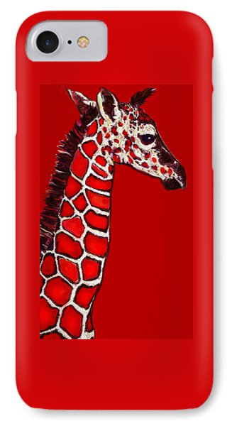 Baby Giraffe In Red Black And White Phone Case by Jane Schnetlage