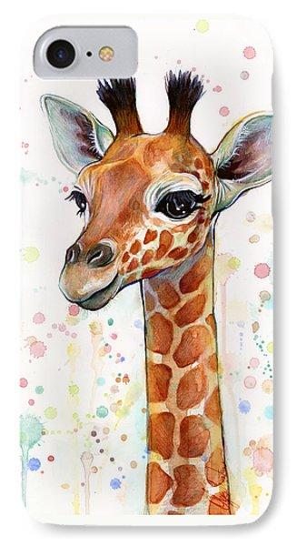 Baby Giraffe Watercolor  IPhone Case
