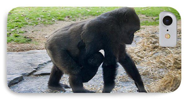 Baby Gorilla On The Move With Mom IPhone Case by Chris Flees