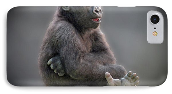 Baby Gorilla Singing To Himself  IPhone Case by Jim Fitzpatrick