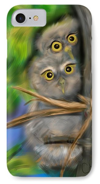 IPhone Case featuring the digital art Baby Owls by Christine Fournier