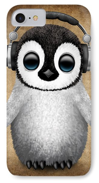 Baby Penguin Dj With Headphones IPhone Case by Jeff Bartels