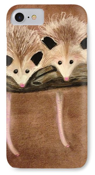 Baby Possums IPhone Case by Renee Michelle Wenker