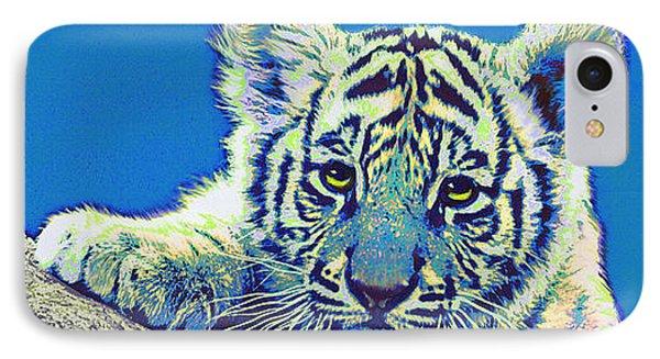 Baby Tiger- Blue Phone Case by Jane Schnetlage