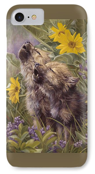 Baby Wolves Howling IPhone Case by Lucie Bilodeau