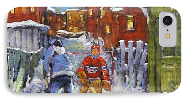 Back Lane Hockey Shoot Out By Prankearts IPhone Case by Richard T Pranke