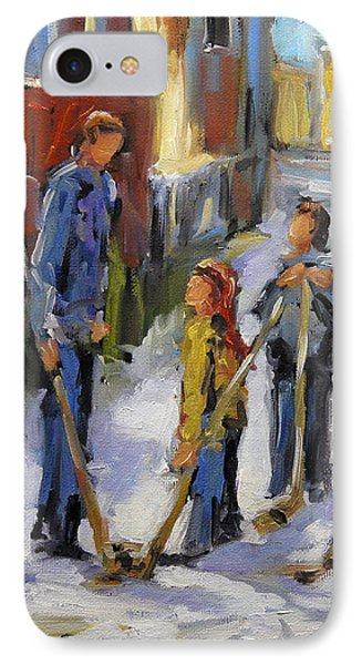 Back Lane Hockey The Stand Off By Prankearts IPhone Case by Richard T Pranke