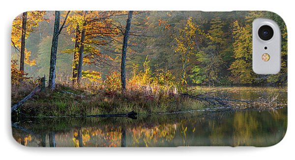 Backlit Trees On Lake Ogle In Autumn IPhone Case by Chuck Haney