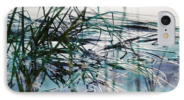 Backwater In Blues IPhone Case by Cynthia Lagoudakis