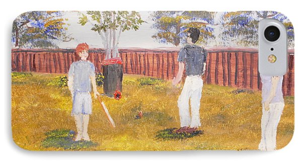 IPhone Case featuring the painting Backyard Cricket Under The Hot Australian Sun by Pamela  Meredith