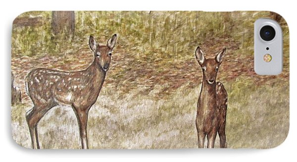 IPhone Case featuring the drawing Backyard Fawns by Meagan  Visser