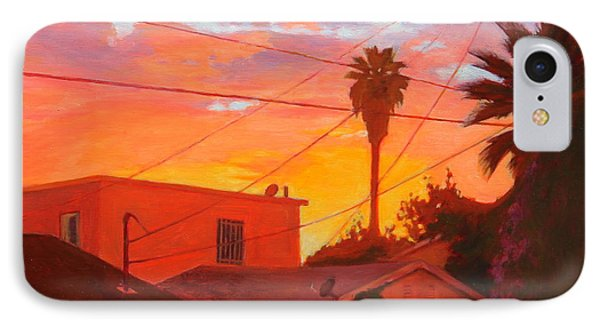 IPhone Case featuring the painting backyard in East LA by Andrew Danielsen