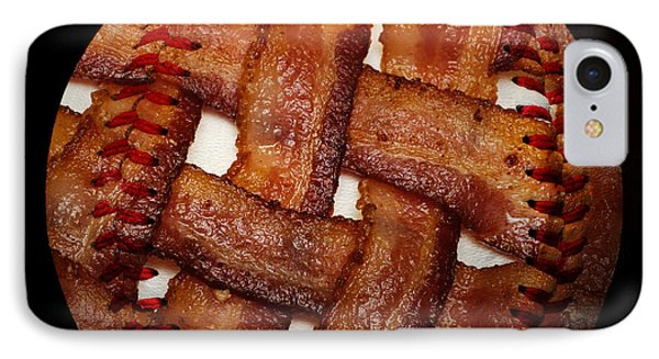 Bacon Weave Baseball Square Phone Case by Andee Design