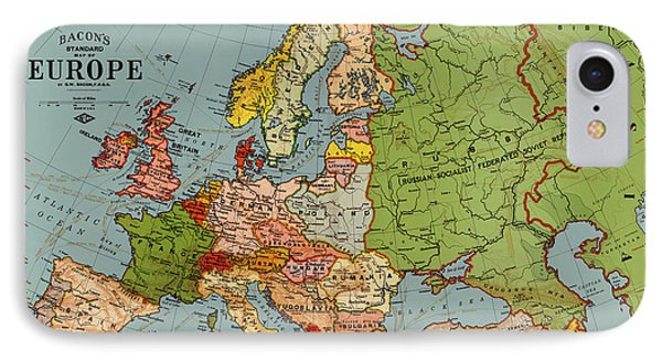 Bacon's Standard Map Of Europe - Circa 1920 Phone Case by Blue Monocle