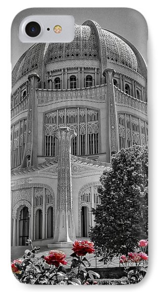 Bahai Temple Wilmette In Black And White Phone Case by Rudy Umans