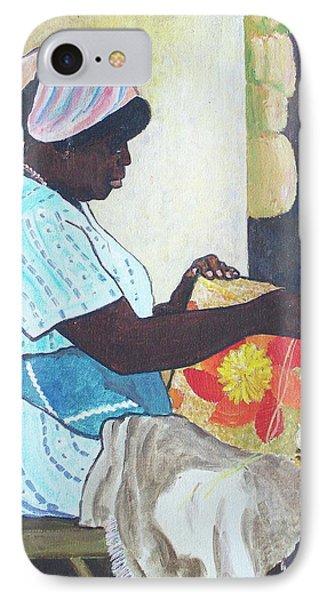 Bahamian Woman Weaving IPhone Case by Frank Hunter
