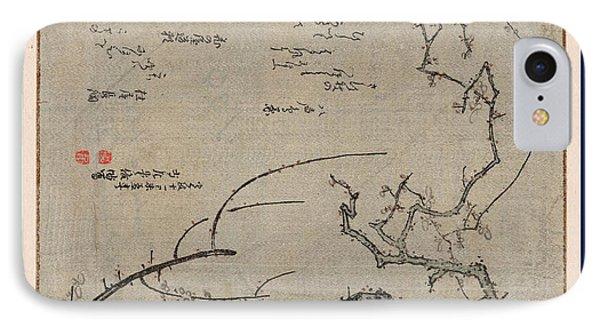 Baiju, Plum Tree. 1799., 1 Print  Woodcut IPhone Case by Shunman, Kubo (1757-1820), Japanese