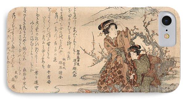 Baika Saru Hiku Musume IPhone Case by Eisen, Keisai (ikeda Yoshinobu) (1790-1848)