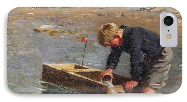 Bailing Out The Boat Phone Case by William Marshall Brown