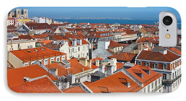 Baixa City Center Of Lisbon Panoramic View Phone Case by Kiril Stanchev