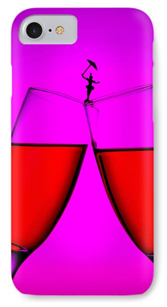 Balance On Red Wine Cups Little People On Food Phone Case by Paul Ge