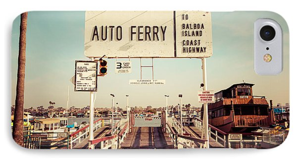 Balboa Island Ferry Newport Beach Vintage Picture IPhone Case by Paul Velgos