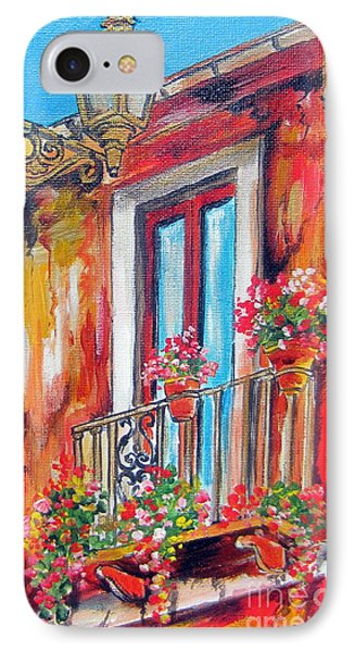 IPhone Case featuring the painting Balcone Fiorito by Roberto Gagliardi