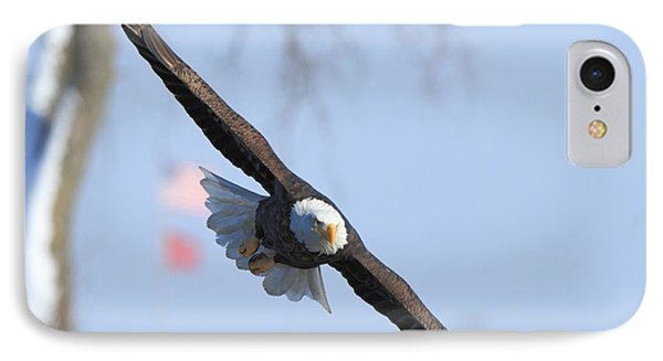 Bald Eagle And Flag IPhone Case by Coby Cooper