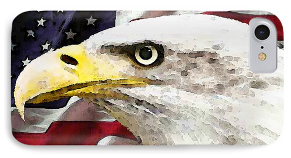 Bald Eagle Art - Old Glory - American Flag IPhone 7 Case