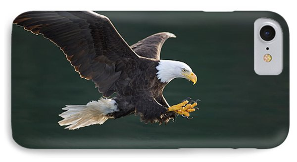 Bald Eagle Catching Fish Phone Case by John Hyde