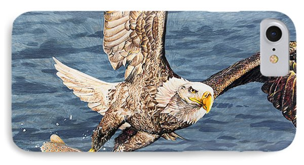 IPhone Case featuring the drawing Bald Eagle Fishing  by Aaron Spong