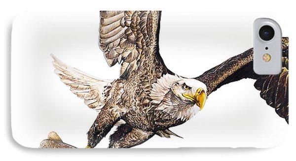 Bald Eagle Fishing White Background IPhone Case